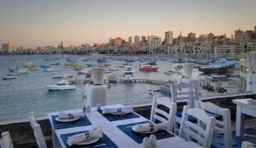 【エジプト】アレクサンドリア観光②:ディナーは地中海を眺めながらロマンチックに!