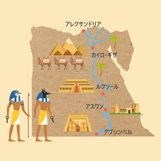 エジプト観光マップ。エジプトの主要都市の位置。