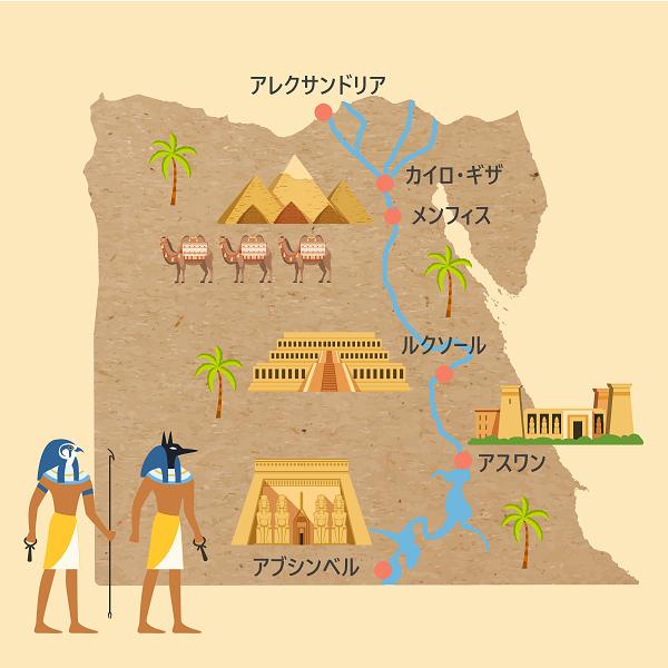 エジプト観光マップ。エジプトの主要都市と遺跡の位置。