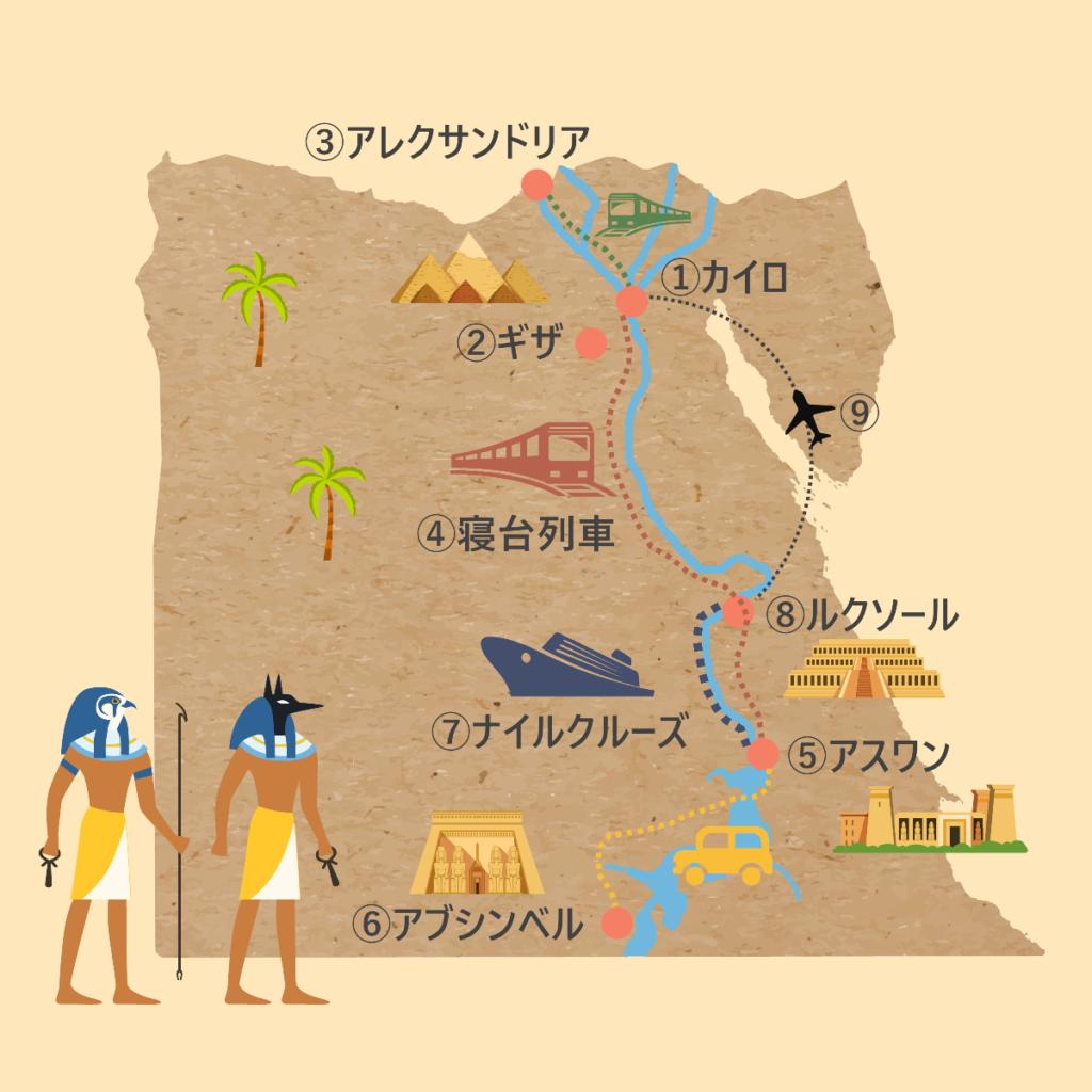 エジプトの移動手段・移動方法をまとめたルートマップ。エジプトの観光マップ。
