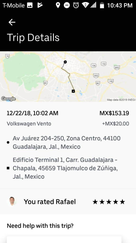 グアダラハラの街から空港まで利用したUber(ウーバー)