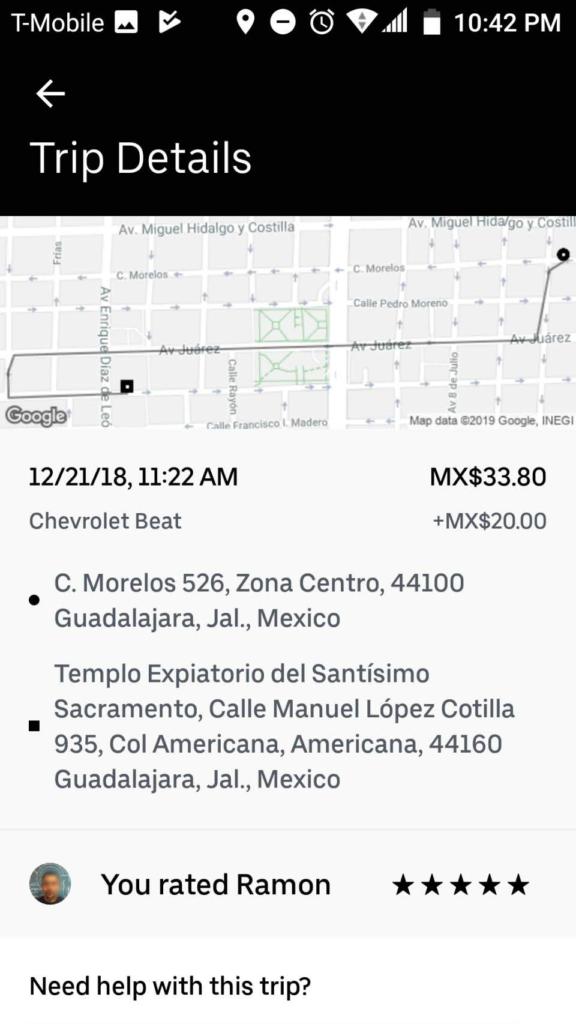 メキシコ・グアダラハラで利用したUber(ウーバー)料金