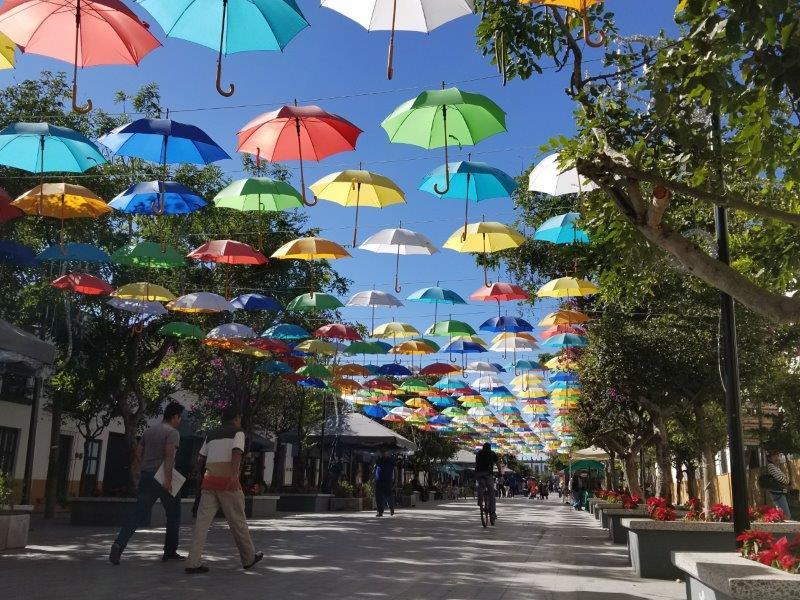 グアダラハラ・サポパン。カラフルな傘で飾られた通り。