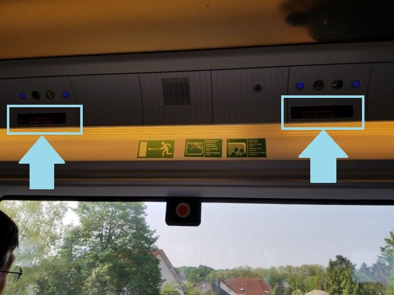 ドイツの鉄道(DB=ドイチェ・バーン) の高速列車ICE。予約席のディスプレイ。