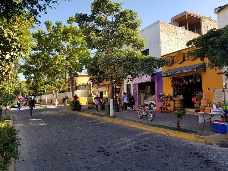 テキーラ村ツアー。テキーラの街並みとショップ。
