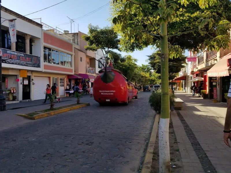 メキシコ・テキーラツアー。テキーラの街を走るトウガラシ車(後ろ姿)。