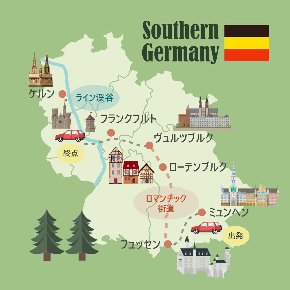 南ドイツのドライブマップ。レンタカー巡ったルートの地図。