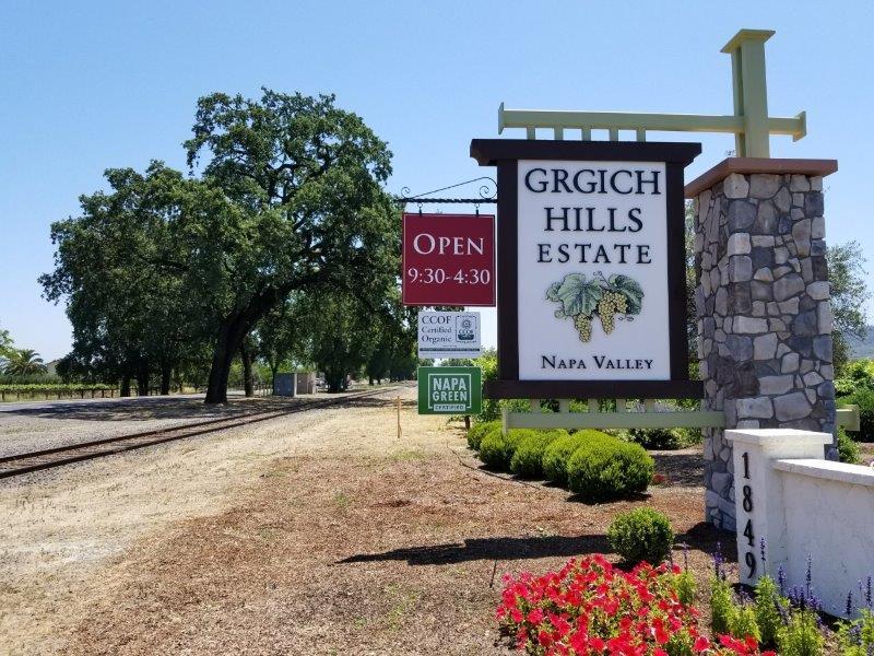 ナパのワイナリー、ガーギッチ・ヒルズ・エステート(Grgich Hills Estate)。入り口。