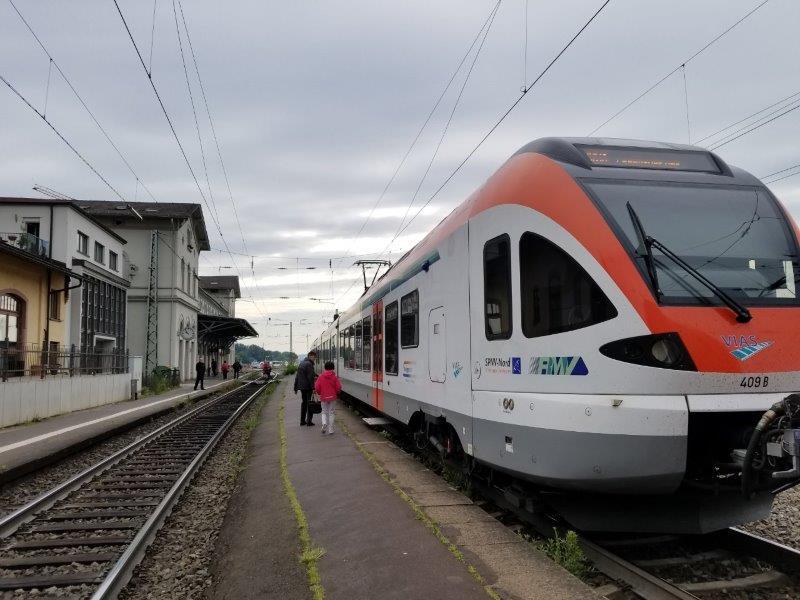 ライン川沿いを走る列車。リューデスハイム駅に到着。
