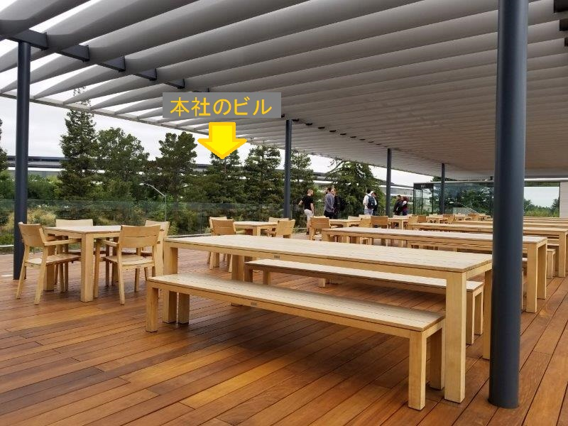 カリフォルニア州シリコンバレーのクパチーノにあるアップル本社。モダンなビジターセンター(アップルパーク)。2階の展望デッキ。