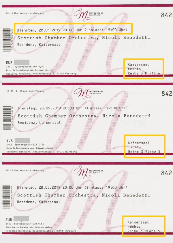 ビュルツブルグ音楽祭チケット