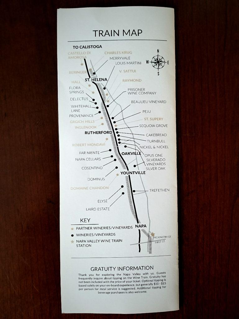 ナパ・ワイン・トレインのマップ(ワイン列車の地図)