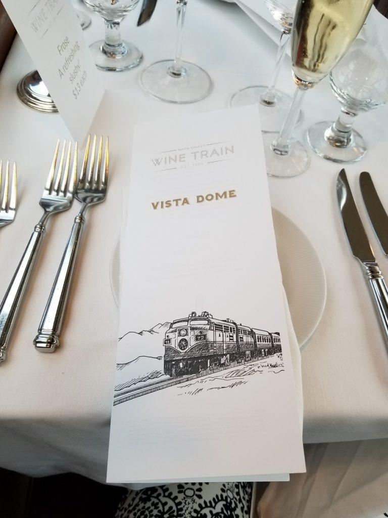 カリフォルニア州・ナパのワイン列車。食事メニュー。(ナパバレー・ワイン・トレイン)