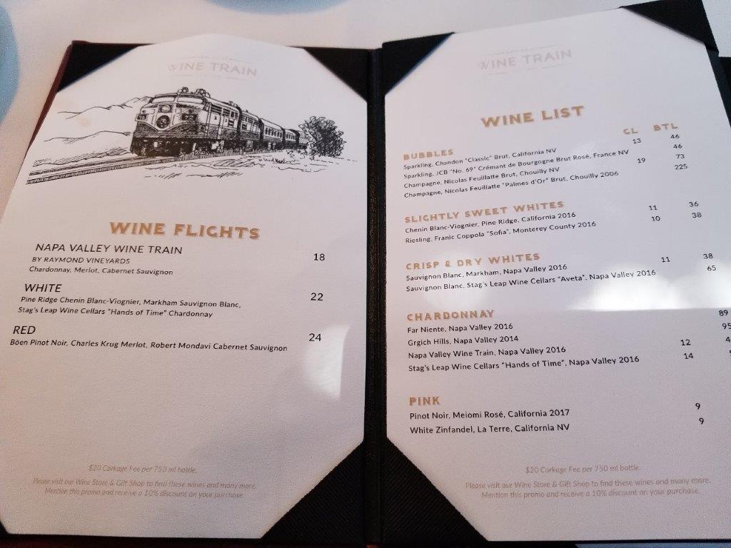 カリフォルニア州・ナパのワイン列車。ワインリスト。(ナパバレー・ワイン・トレイン)