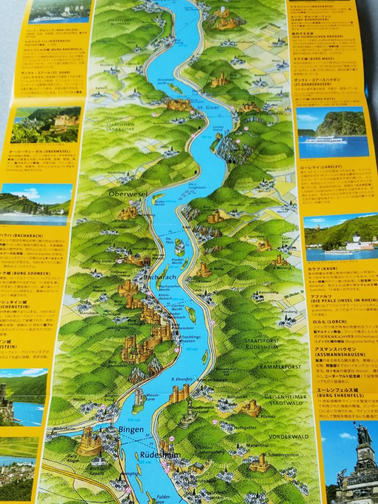 ライン川クルーズの古城マップ