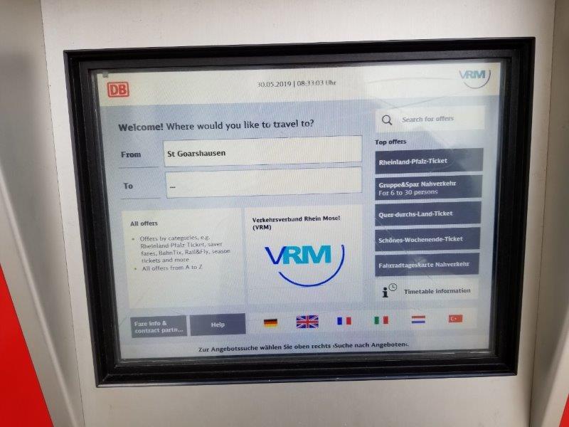 ザンクトゴアールスハウゼン駅。切符の自動販売機。
