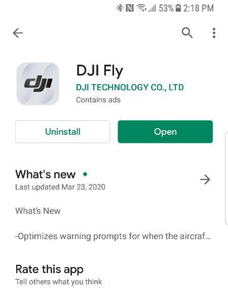 DJI Fly アプリ