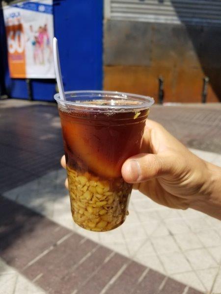 チリ・サンティアゴ観光。モテ・コン・ウエシージョ (Mote con huesillo)
