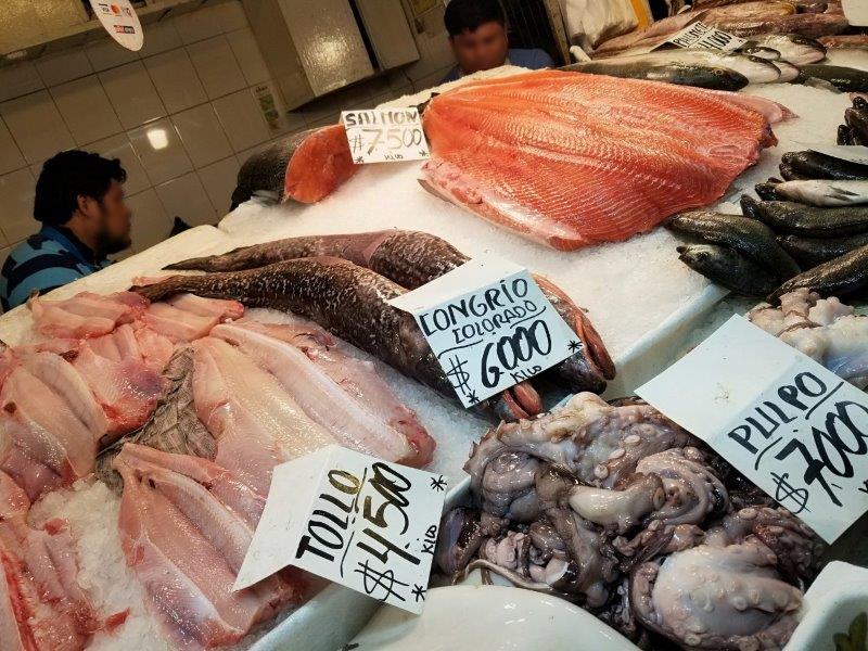 チリ・サンティアゴ観光。中央市場のフィッシュマーケット。